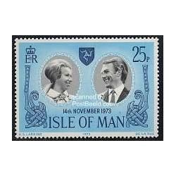 1 عدد تمبر 14 نوامبر ازدواج سلطنتی آنی و مارک - جزیره من 1973