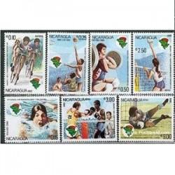 7 عدد تمبر بازیهای ورزشی آمریکائی- نیکاراگوئه 1982