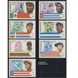 7 عدد تمبر مسابقات بیسبال - نیکاراگوئه 1984