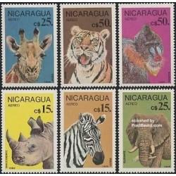 6 عدد تمبر حیوانات حفاظت شده - نیکاراگوئه 1986