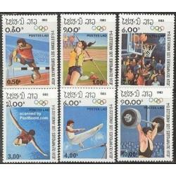 6 عدد تمبر بازیهای المپیک لس آنجلس 84 - لائوس 1983