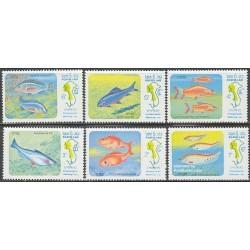 6 عدد تمبر ماهی میکونگ - لائوس 1983