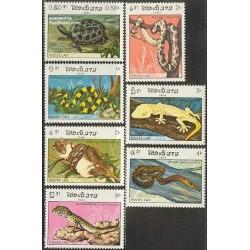 7 عدد تمبر خزندگان - لائوس 1984