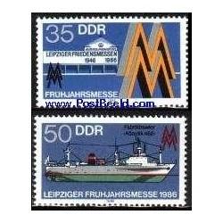 2 عدد تمبر نمایشگاه بهاره لایپزیک - جمهوری دموکراتیک آلمان 1986
