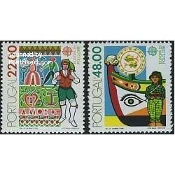 2 عدد تمبر مشترک اروپا - Europa Cept - فورکلور - پرتغال 1981