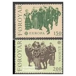 2 عدد تمبر مشترک اروپا - Europa Cept - فورکلور - جزائر فارور 1981