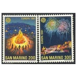 2 عدد تمبر مشترک اروپا - Europa Cept - فورکلور - سان مارینو 1981