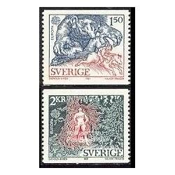 2 عدد تمبر مشترک اروپا - Europa Cept - فورکلور - سوئد 1981