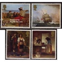 4 عدد تمبر تابلو نقاشی - جرسی 1971