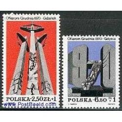 2 عدد تمبر اعتصاب 1970 - لهستان 1981