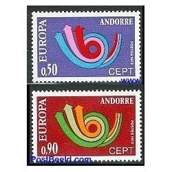 2 عدد تمبر مشترک اروپا - Europa Cept  - فرانسه آندورا 1973
