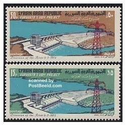 2 عدد تمبر پروژه سد فرات - سوریه 1973