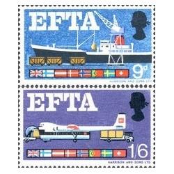 2 عدد تمبر انجمن تجارت آزاد اروپا EFTA - انگلیس 1967