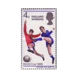 1 عدد تمبر برندگان جام جهانی فوتبال انگلیس - سورشارژ - انگلیس 1966