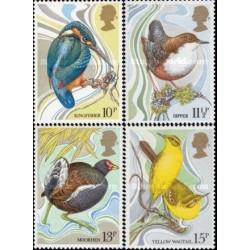 4 عدد تمبرصدمین سالگرد حفاظت از پرندگان - انگلیس 1980