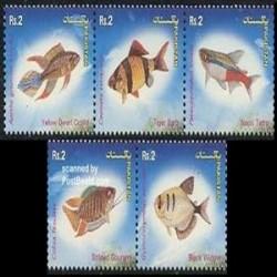 5 عدد تمبر ماهیها - پاکستان 2004