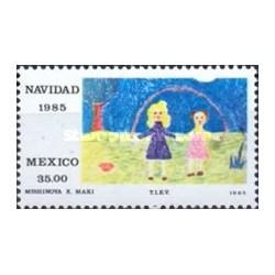1 عدد تمبر کریستمس - نقاشی کودکان - مکزیک 1985 با شارنیه