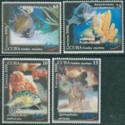 4 عدد تمبر ماهی - کوبا 2000