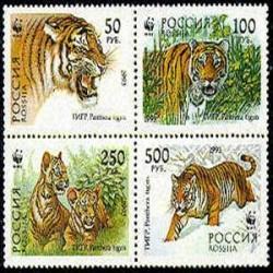 4 عدد تمبر ببر - بهم چسبیده - روسیه 1993  WWF