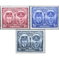 3 عدد تمبر بازدید دو و دوشس کلوسستر - استرالیا 1945