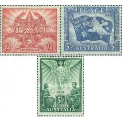 3 عدد تمبر پایان جنگ جهانی دوم - صلح - استرالیا 1946