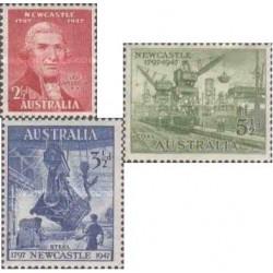 3 عدد تمبر صد و پنجاهمین سالگرد شهر نیوکاسل - استرالیا 1947