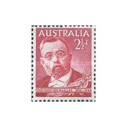 1 عدد تمبر فردیناند فون مولر - فیزیکدان و جغرافیدان آلمانی - استرالیا 1948 با شارنیه