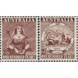 2 عدد تمبر صدمین سالگرد اولین تمبر پستی استرالیا - استرالیا 1950