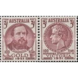 2 عدد تمبر صدمین سالگرد کشف طلا در ویکتوریا و خودگردانی ویکتوریا - استرالیا 1951 با شارنیه