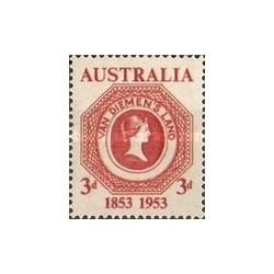 1 عدد تمبر صدمین سالگرد تمبرهای تاسمانی - استرالیا 1953