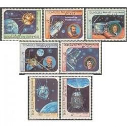 7 عدد تمبر اکتشافات فضائی - لائوس 1984