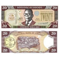 اسکناس 20 دلار - لیبریا 2011 آرم نقره ای بالای امضای راست فاقد حروف CBL