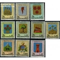 10 عدد تمبر آرمها - سان مارینو 1968