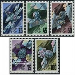 5 عدد تمبر ماهواره ها - روسیه 1993