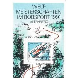 سونیرشیت مسابقات قهرمانی سورتمه سواری - آلتنبرگ - ممهور به مهر روز انتشار - جمهوری فدرال آلمان 1991