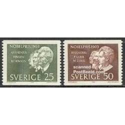 2 عدد تمبر برندگان جایزه نوبل 1903 - پی یر کوری، ماری کوری و ... - سوئد 1963