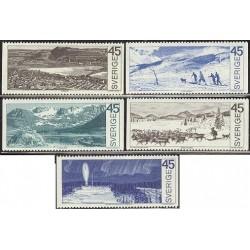 5 عدد تمبر نواحی قطبی - سوئد 1970