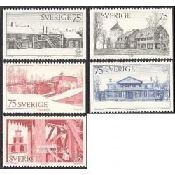 5 عدد تمبر میراث معماری اروپا - سوئد 1975