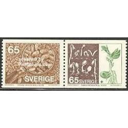 2 عدد تمبر کنترل بذر - سوئد 1976