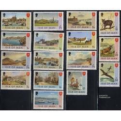 16 عدد تمبر سری پستی - استقلال پستی - جزیره من 1973