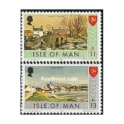 2 عدد تمبر سری پستی - قیمتهای جدید - جزیره من 1975
