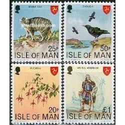 4 عدد تمبر سری پستی - قیمتهای جدید - جزیره من 1978
