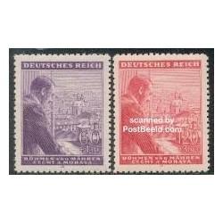 2 عدد تمبر پنجاه و چهارمین سالگرد تولد هیتلر - بوهیما و مورویا 1943