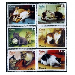 6 عدد تمبر گربه ها - کوبا 2009