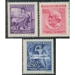 3 عدد تمبر ریچارد واگنر - آهنگساز ، رهبر ارکستر - بوهمیا و موراویا 1943