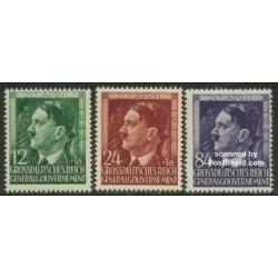 3 عدد تمبر پنجاه و پنجمین سالگرد تولد هیتلر - دولت مرکزی آلمان 1944