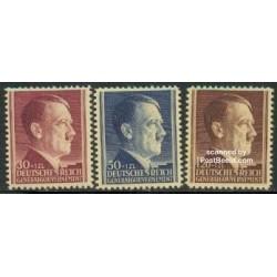 3 عدد تمبر پنجاه و سومین سالگرد تولد هیتلر - دولت مرکزی آلمان 1942