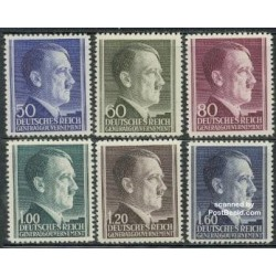 6 عدد تمبر سری پستی آدولف هیتلر - دولت مرکزی آلمان 1942
