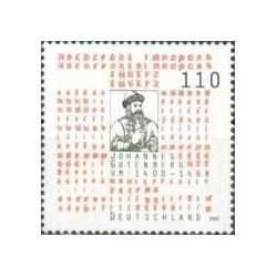 1 عدد تمبر ششصدمین سالگرد تولد یوهانس گوتنبرگ - مخترع چاپ- جمهوری فدرال آلمان 2000