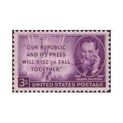 1 عدد تمبر جوزف پولیتزر - روزنامه نگار و بنیانگذار جایزه ادبی پولیتزر - آمریکا 1947